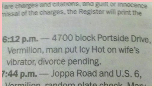 police blotter chemical play